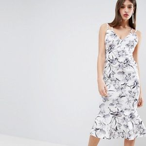Floral mermaid backless strappy dress